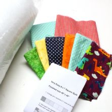 My First Quilt - Very Easy 6x7 Squares Little Dino Patchwork Quilt Kit